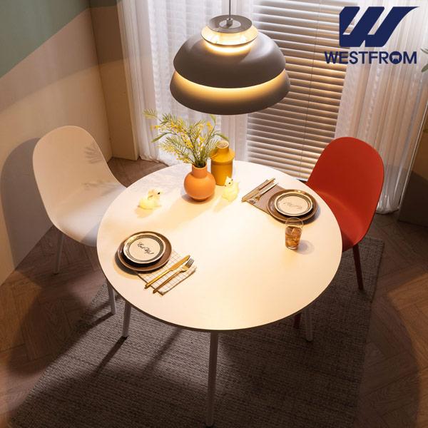 [웨스트프롬] 모던 엘라) 800 화이트 원형 테이블(식탁) + 체어 2개