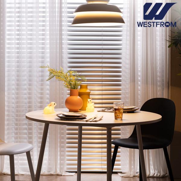 [웨스트프롬] 모던 엘라) 800 화이트 원형 테이블(식탁) + 체어 4개