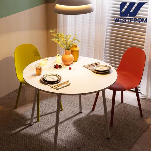 [웨스트프롬] 모던 엘라) 1000 화이트 원형 테이블(식탁) + 체어 2개