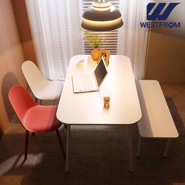 [웨스트프롬] 모던 엘라) 1200 화이트 라운드 테이블(식탁) + 체어 2개, 벤치 1개