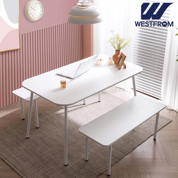 [웨스트프롬] 모던 엘라) 1200 화이트 라운드 테이블(식탁) + 벤치 2개