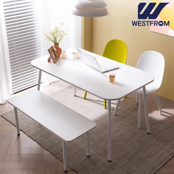 [웨스트프롬] 모던 엘라) 1400 화이트 라운드 테이블(식탁) + 체어 2개, 벤치 1개