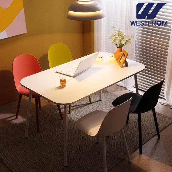 [웨스트프롬] 모던 엘라) 1400 화이트 라운드 테이블(식탁) + 체어 4개