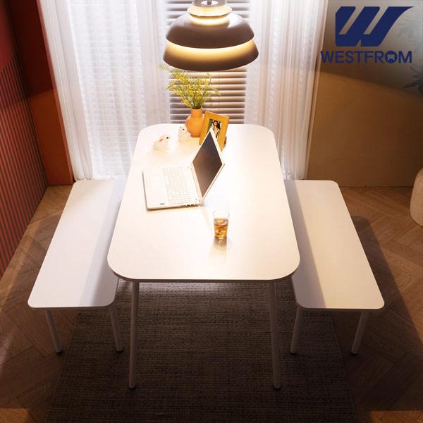 [웨스트프롬] 모던 엘라) 1400 화이트 라운드 테이블(식탁) + 벤치 2개