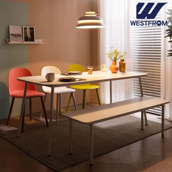 [웨스트프롬] 모던 엘라) 1800 화이트 라운드 테이블(식탁) + 벤치 2개